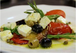 Greak Salat with feta cheese and olives