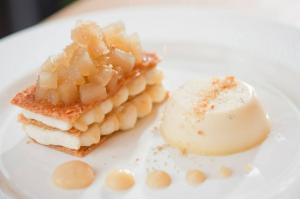 Mille Feuille with Pears and cardamon Panna Cotta