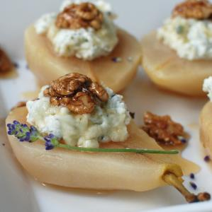 Poached Pears with goat cheese mousse and carmelized walnuts