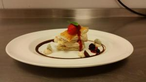 mille feuille with strawberry and mintly sugar by Marriott