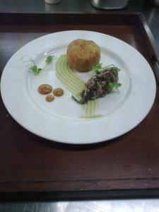 Crab Cake  with Carmelized Pear Puree an young beetroot salsa