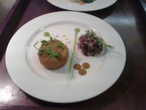 Crab Cake with young beetroot Salsa