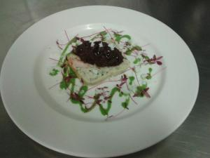 Cod Terrine with olives tapenade and parsley emulsion